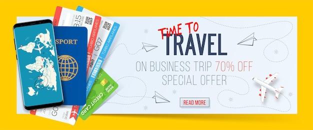 Banner de viaje de negocios con oferta especial en viajes de negocios.