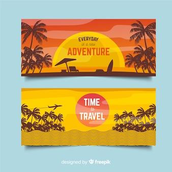 Banner viaje plano siluetas de palmeras
