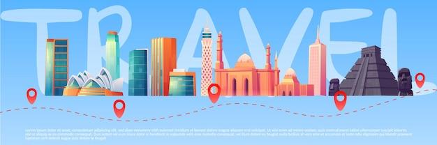 Banner de viaje con puntos de referencia mundiales en el horizonte y ruta de viaje con puntos