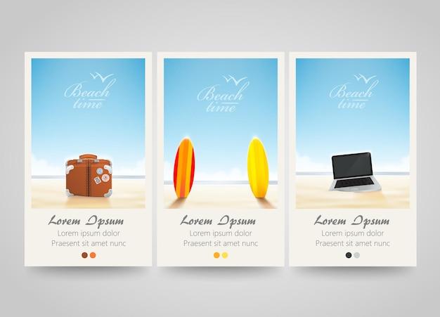 Banner de viaje con surf, portátil, bolso.