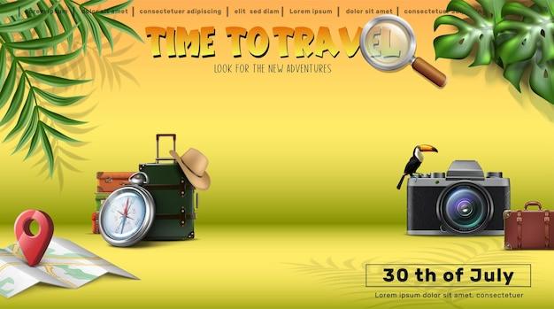 Banner de viaje de vector banner de concepto de turismo de viaje de vector con equipaje de elementos realistas