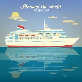 Banner de viajes alrededor del mundo con cruise liner