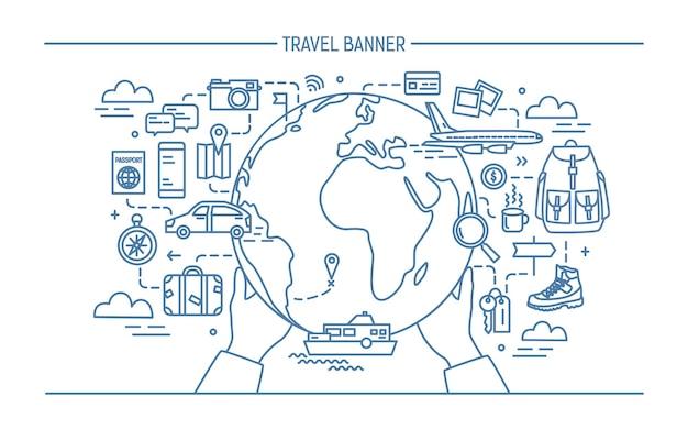 Banner de viajes de arte lineal