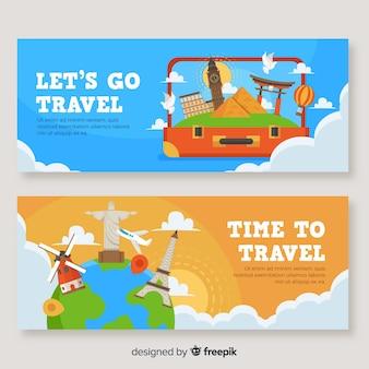 Banner de viajes paisaje plano