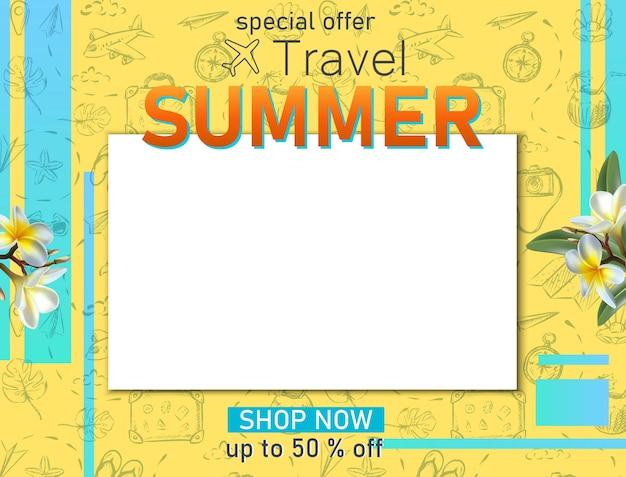 Banner de viajes de vector banner de turismo de viajes de verano con espacio de copia y elementos dibujados a mano