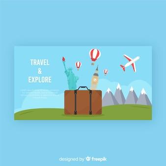 Banner de viajes vector gratuito