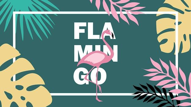 Banner de vibraciones de verano con flamencos y hojas tropicales.