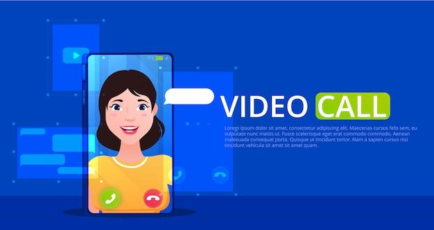 Un banner de videollamada. en línea hablando con chica en un teléfono móvil. iconos con una burbuja de hablar. ilustración de dibujos animados