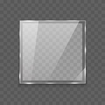Banner de vidrio rectángulo brillante con luces