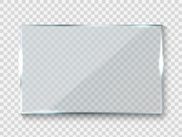 Banner de vidrio reflectante. reflejo de rectángulo brillante textura de panel 3d o ventana clara en marco de fondo transparente