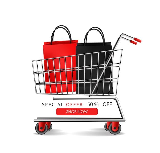 Banner de viernes negro con bolsas y carrito de compras.