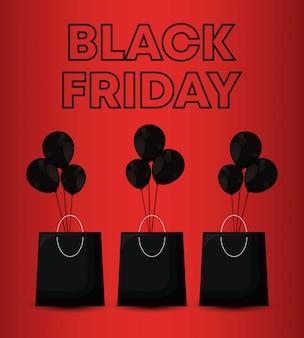 Banner de viernes negro con bolsas de compras y globos de aire.