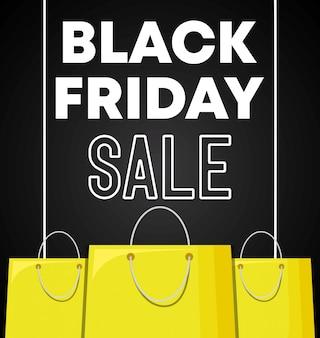 Banner de viernes negro con bolsas de compras