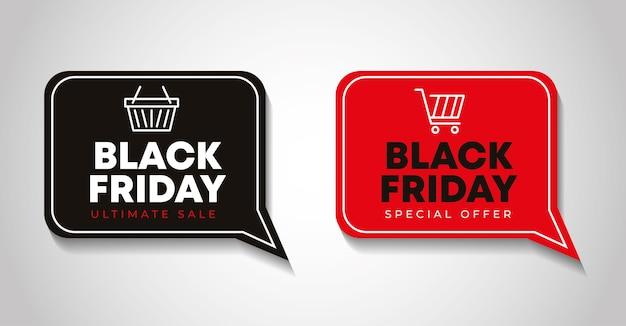 Banner de viernes negro con burbujas de discurso con iconos de canasta de mercado
