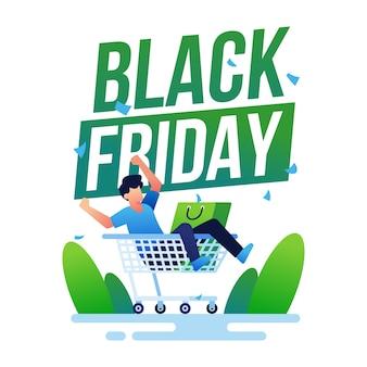 Banner de viernes negro con carrito de compras
