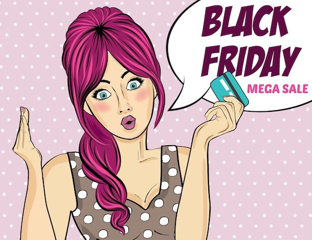 Banner de viernes negro con chica pin-up. estilo retro.