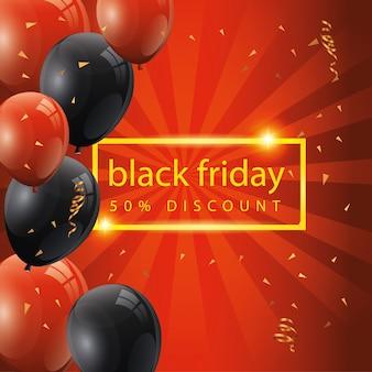 Banner de viernes negro y cincuenta descuentos con globos de decoración de helio