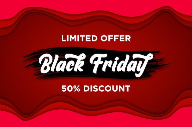 Banner de viernes negro con estilo de corte de papel