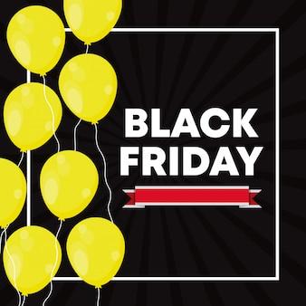 Banner de viernes negro con globos de aire.