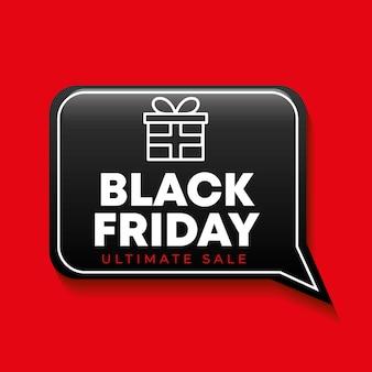 Banner de viernes negro con icono de regalo y bocadillo de diálogo