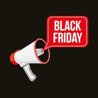 Banner de viernes negro con megáfono y bocadillo sobre fondo negro