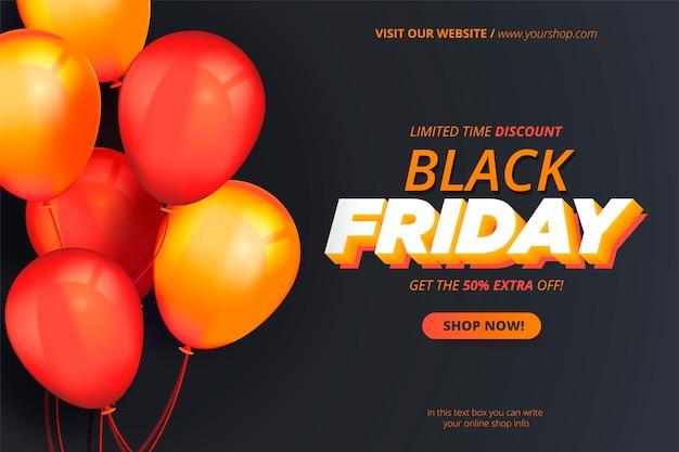 Banner de viernes negro moderno con globos realistas