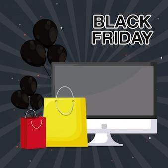 Banner de viernes negro con monitor de computadora