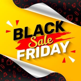 Banner de viernes negro o publicación con papel de regalo abierto