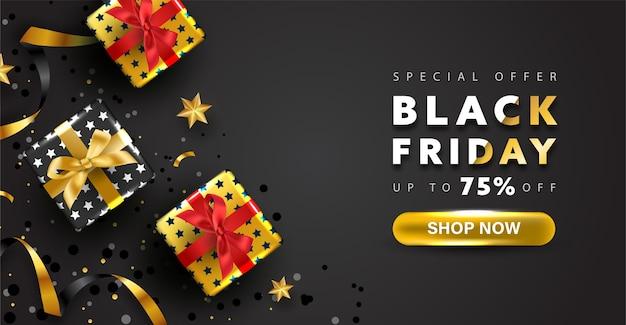 Banner de viernes negro. oferta especial banner de compras en línea.