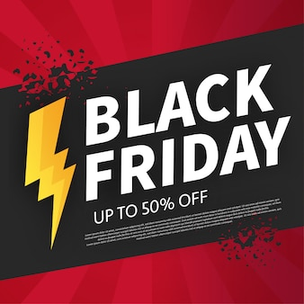 Banner de viernes negro roto con oferta flash
