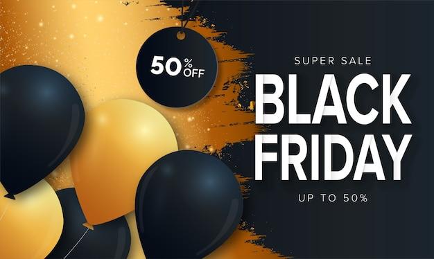 Banner de viernes negro de súper venta con diseño de salpicaduras