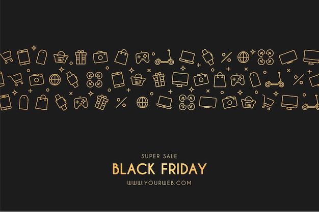 Banner de viernes negro de super venta con iconos de tienda