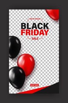 Banner de viernes negro para venta de compras o plantilla de historias de redes sociales.