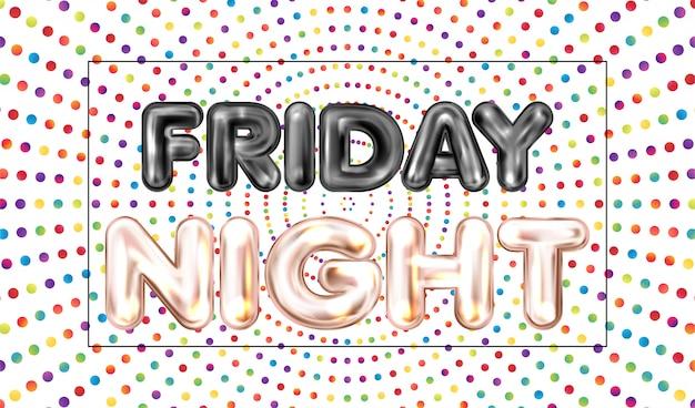 Banner de viernes por la noche con puntos de colores