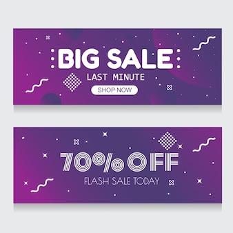 Banner violeta fondo abstracto venta flash 70% de descuento