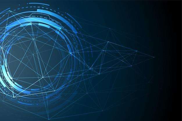 Banner de visualización de datos de tecnología futurista con diagrama de circuito