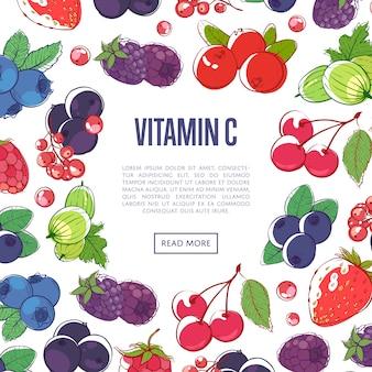 Banner de vitaminas naturales con bayas mixtas