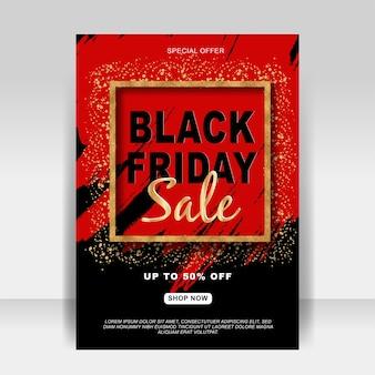 Banner de volante de anuncio de venta de viernes negro con brillo dorado y salpicaduras