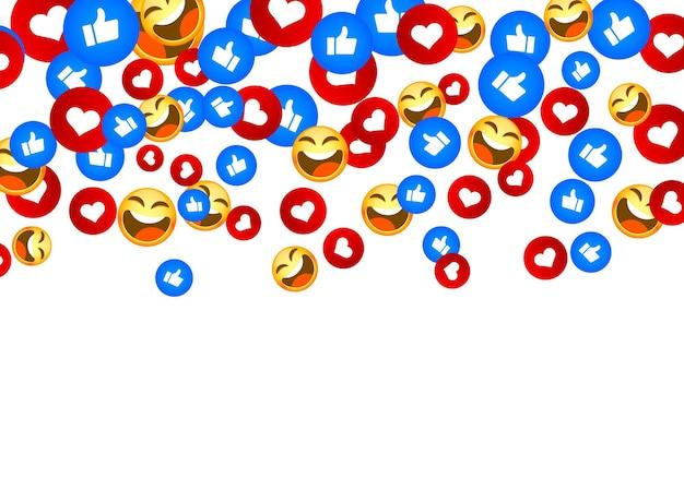 Banner volar como red social emoji mano. fondo blanco. ilustración vectorial