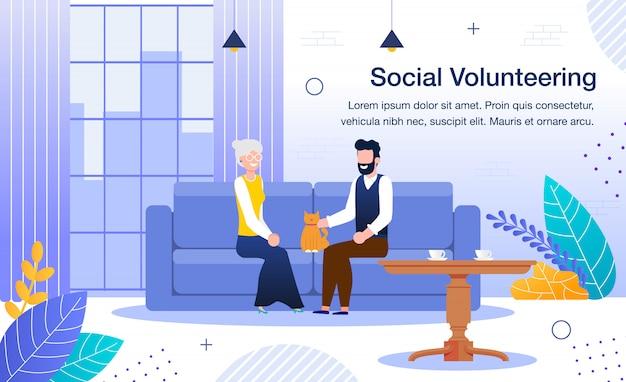 Banner de voluntariado de bienestar y trabajo social