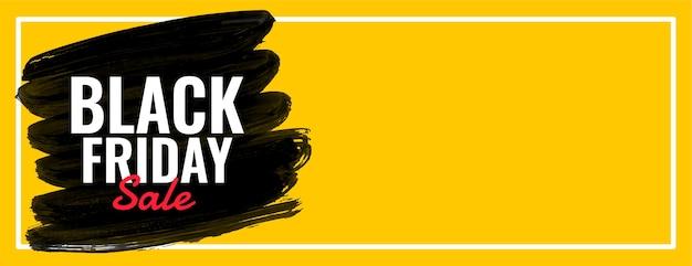 Banner de web ancho amarillo de venta de viernes negro