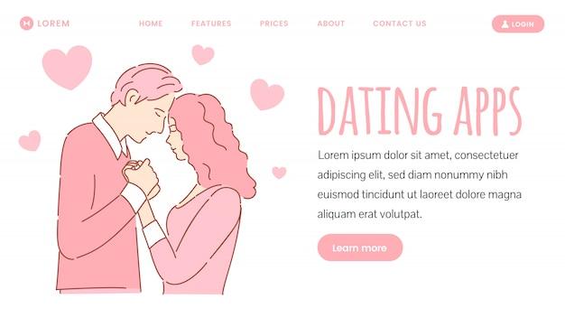 Banner de web de aplicación de citas. historia de amor romántica, concepto de página de destino del día de san valentín.