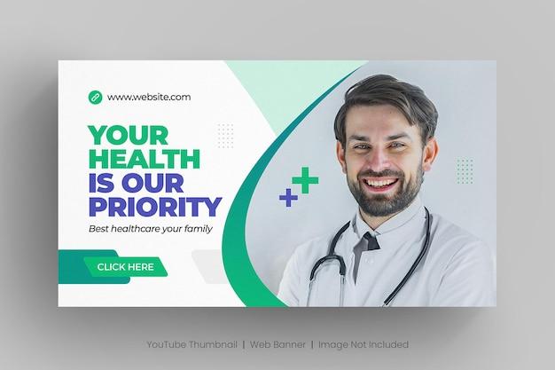 Banner web de atención médica y miniatura de youtube