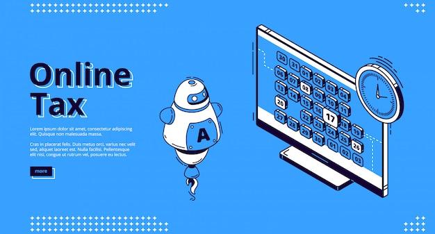 Banner de web de aterrizaje isométrico de impuestos en línea, impuestos