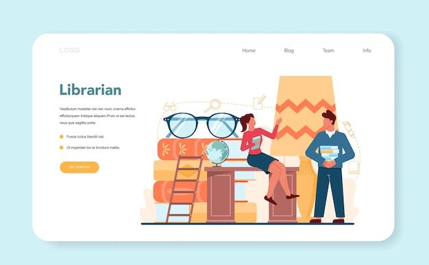 Banner web de bibliotecario o página de destino