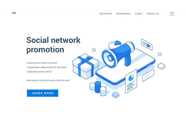 Banner web para campaña de promoción de redes sociales.