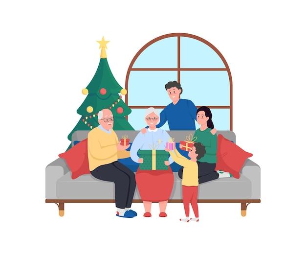Banner de web de celebración de navidad familiar, cartel. abuela, abuelo reciben regalos.