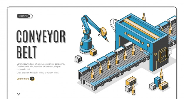 Banner web de cinta transportadora, las manos del robot empacan botellas