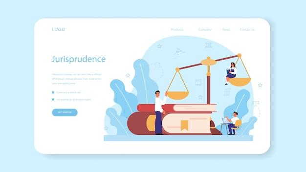 Banner web de clase de derecho o página de destino. educación sobre el castigo y el juicio.
