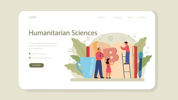Banner web de clase de inglés o página de destino. estudiar idiomas extranjeros en la escuela o la universidad.